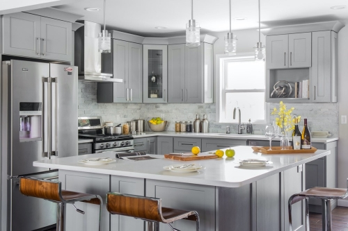 Castle Grey Kitchen Remodel Dining Counter Top