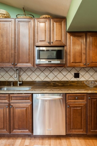 Chocolate Glazed Kitchen Remodel Job Close View