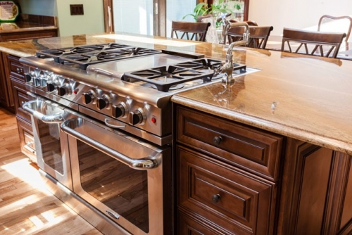 Chocolate Glazed Kitchen Remodel Job Stove Section