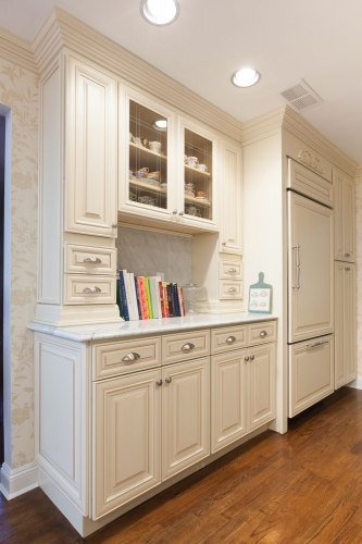 Creme Glazed Kitchen Remodel Cabinet View
