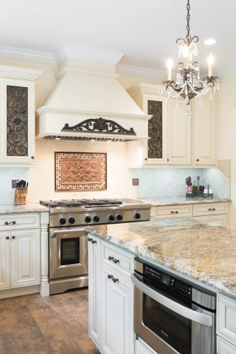 Creme Glazed Kitchen Remodel Counter Top View