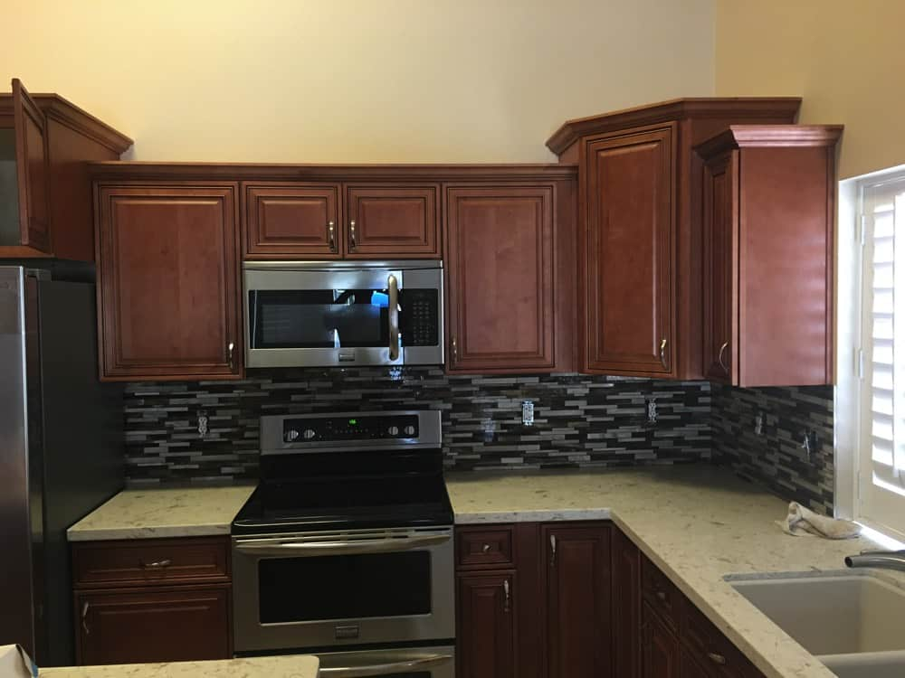 Kitchen Area Front View with dark cabinets
