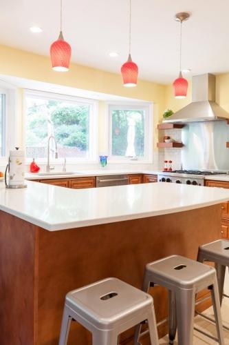 Mocha Glazed Kitchen Remodel Job Counter Top View