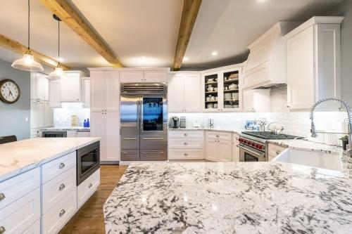 White Kitchen Remodel Job Counter Top View